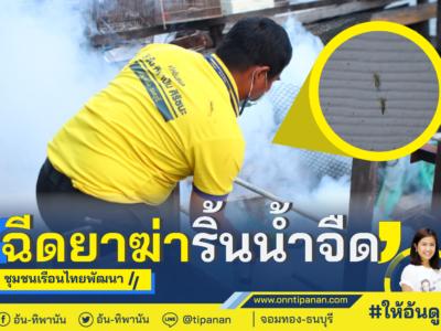 ฉีดพ่นยาไล่ริ้นน้ำจืด #ชุมชนเรือนไทยพัฒนา